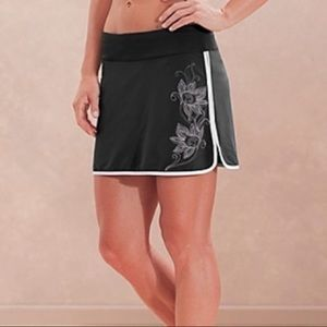 Athleta Swift Zip Skort Skirt Gray Floral Pocket 4